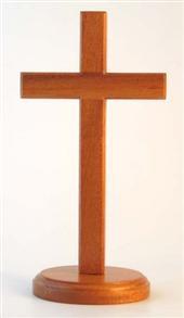 Wooden Cross 20cm Standing (Round Base) -