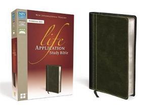 NIV Bible 2011 Study Life Application Personal Duotone Bark Dark Moss -