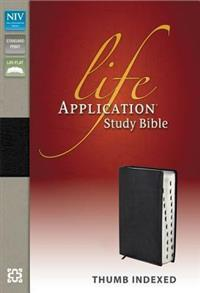 NIV Bible 2011 Study Life Application Top Grain Leather Indexed Black -