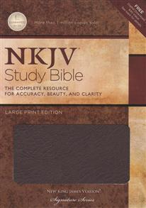 NKJV Bible Study Large Print Bonded Leather Burgundy Indexed -