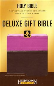 NRSV Bible Deluxe Gift with Apocrypha Flexisoft Tri-Colour Chocolate Pink -
