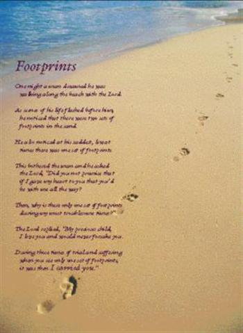 photo relating to Footprints in the Sand Poem Printable titled Footprints - Footprints poster at Christian Bookshop