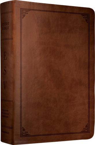 ESV Study Bible Larger Print Trutone Walnut Frame Design by